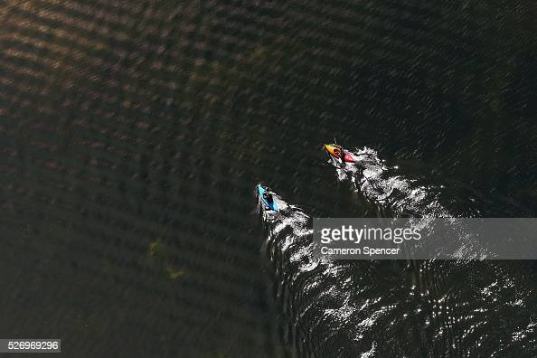 A view of people kayaking on Narrabeen Lake from a blimp on April 28 2016 in Sydney Australia The Appliances Online blimp is the only operational...