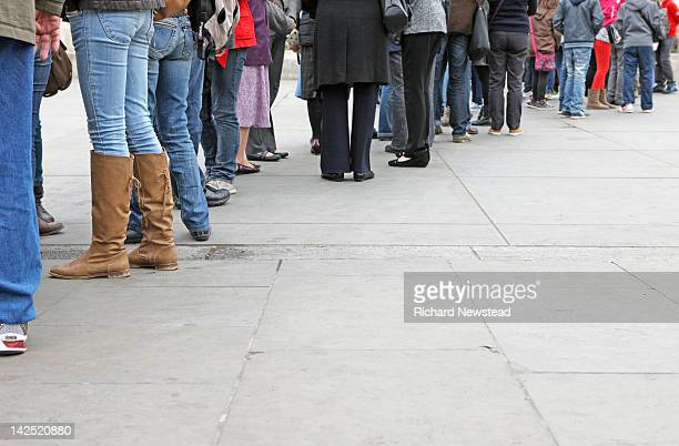 View of people queuing