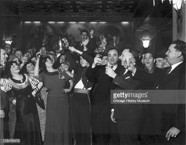 View of people raising a celebratory glass of alcohol after the repeal of Prohibition Chicago IL 1933 From the Chicago Daily News collection