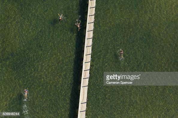A view of people swimming laps in North Narrabeen ocean pool from a blimp on April 28 2016 in Sydney Australia The Appliances Online blimp is the...
