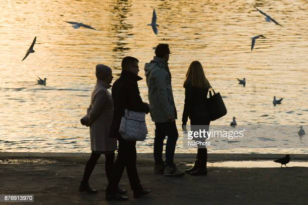 A view of people walking and watching birds near Vistula river On Monday 20 November 2017 in Krakow Poland