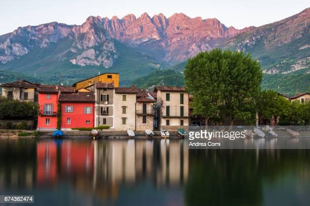 View of Pescarenico, fisherman village. Resegone in the background. Pescarenico, Lecco, lake Como, Lombardy.
