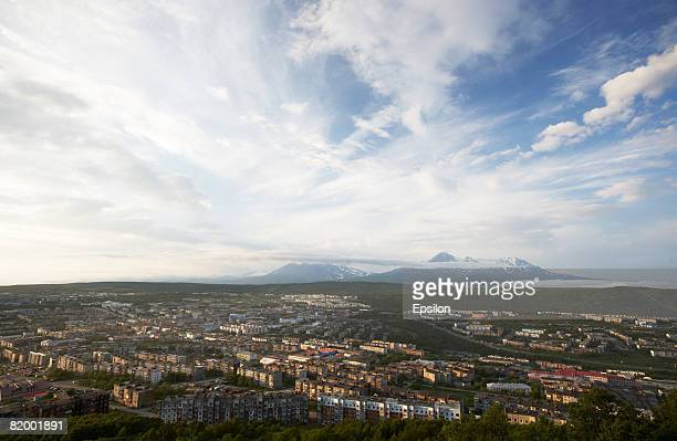 View of PetropavlovskKamchatsky August 19 2007 in Kamchatka Russia Kamchatka has the highest density of volcanos and associated volcanic phenomena in...