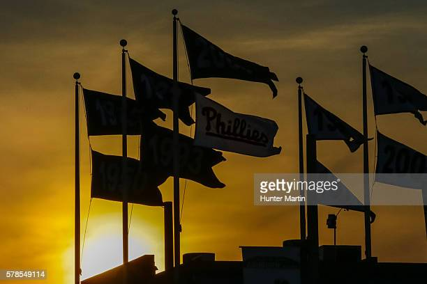 A view of Phillies pennants at sunset during a game between the Miami Marlins and the Philadelphia Phillies at Citizens Bank Park on July 21 2016 in...