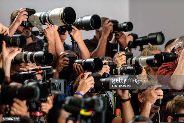 A view of photographers at the Zang Toi fashion show during New York Fashion Week The Shows at Gallery 3 Skylight Clarkson Sq on September 13 2017 in...