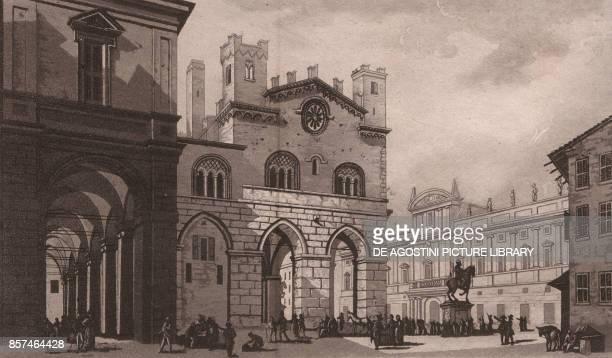 View of Piazza Cavalli with the Palazzo Comunale in Piacenza EmiliaRomagna Italy aquatint 191x115 cm from Viaggio in Italia per Francesco Gandini...