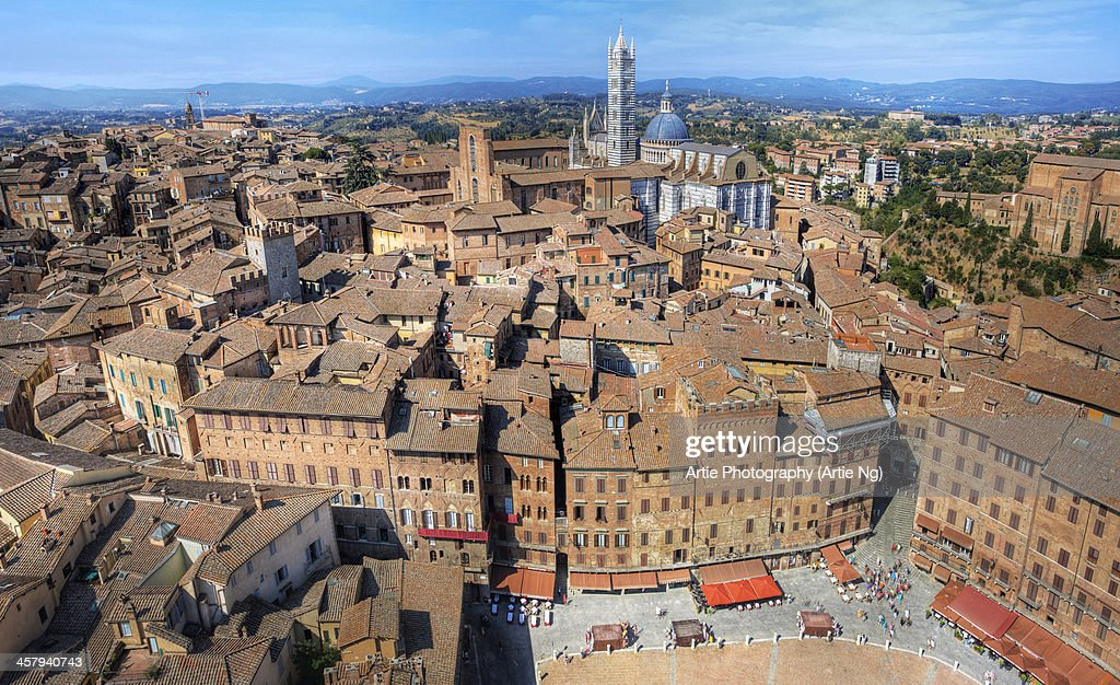 View of Piazza Del Campo & Siena Cathedral, Italy