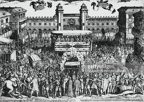 View of Piazza del Castello Turin during the ostension of the Holy Shroud 4th may 1613 by Antonio Tempesta engraving Italy 17th century