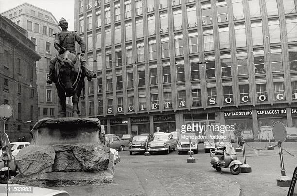 View of Piazza Missori with the equestrian statue dedicated to General Missori Garibaldi's follower and hero of Milan's Five Days At his back a huge...