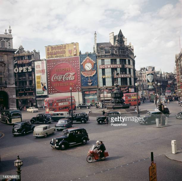 A view of Piccadilly Circus London circa 1963
