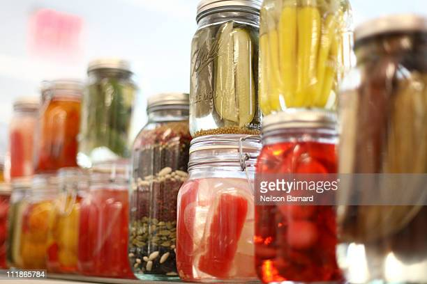 A view of pickling jars at the launch of the new fifth floor event space at The International Culinary Center on April 7 2011 in New York City