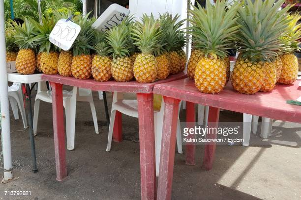 View Of Pineapples On Red Table