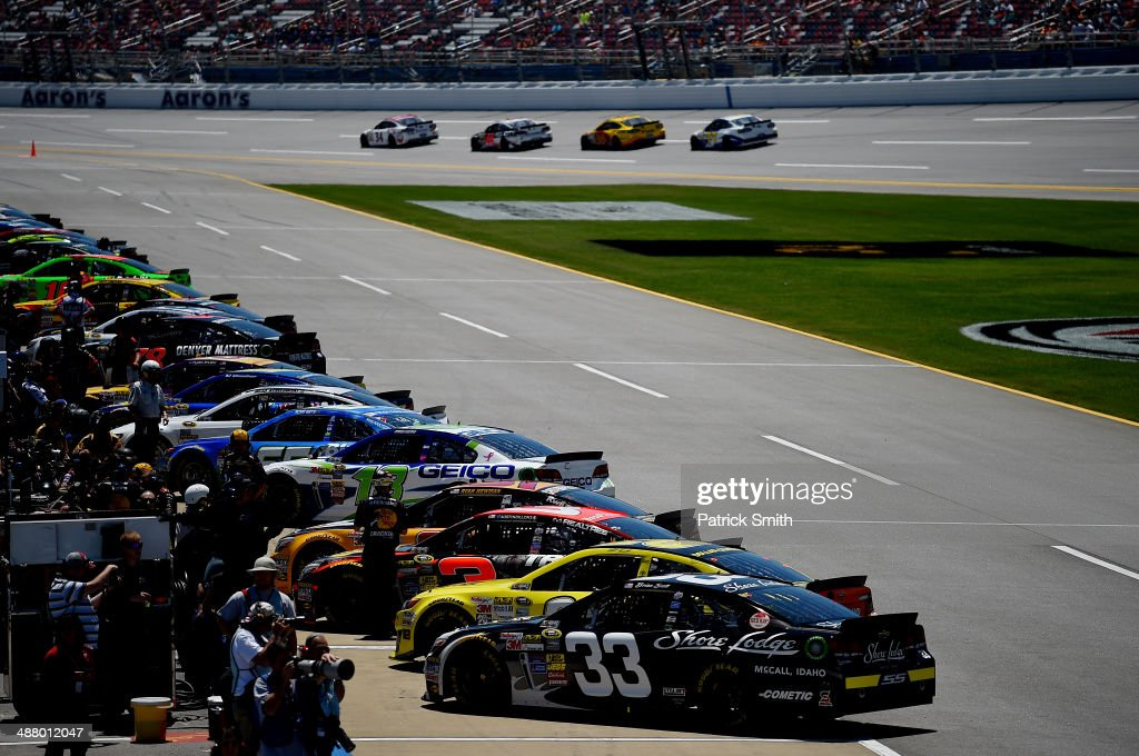 A view of pit road during qualifying for the NASCAR Sprint Cup Series Aaron's 499 at Talladega Superspeedway on May 3, 2014 in Talladega, Alabama.