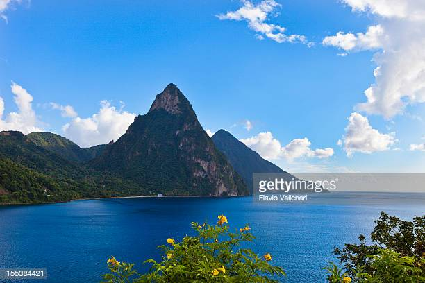 View of Pitons, St. Lucia depicting mountains and the ocean