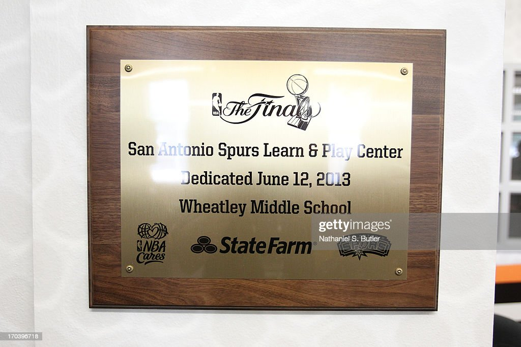 A view of plaque the San Antonio Spurs dedicated the 2013 NBA Cares Legacy Project as part of the 2013 NBA Finals on June 7, 2013 at the Wheatley Middle School in San Antonio, Texas.