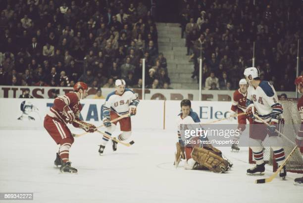 View of play between The United States and Soviet Union during the 1971 World Ice Hockey Championships in Switzerland in March 1971 The Soviet Union...