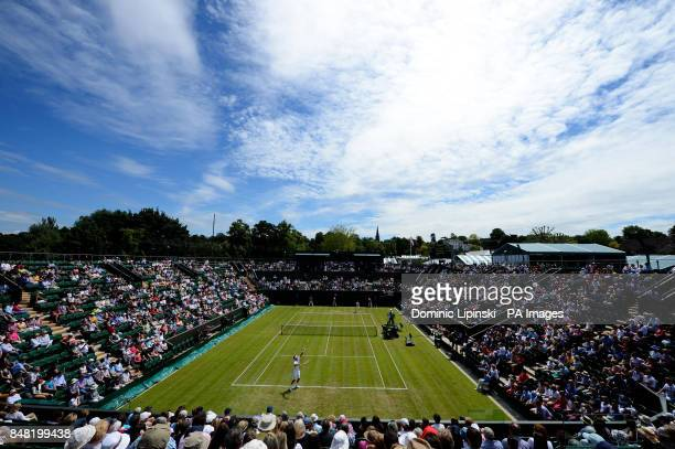 A view of play on court 2 between Australia's Bernard Tomic and Belgium's David Goffin during day two of the 2012 Wimbledon Championships at the All...