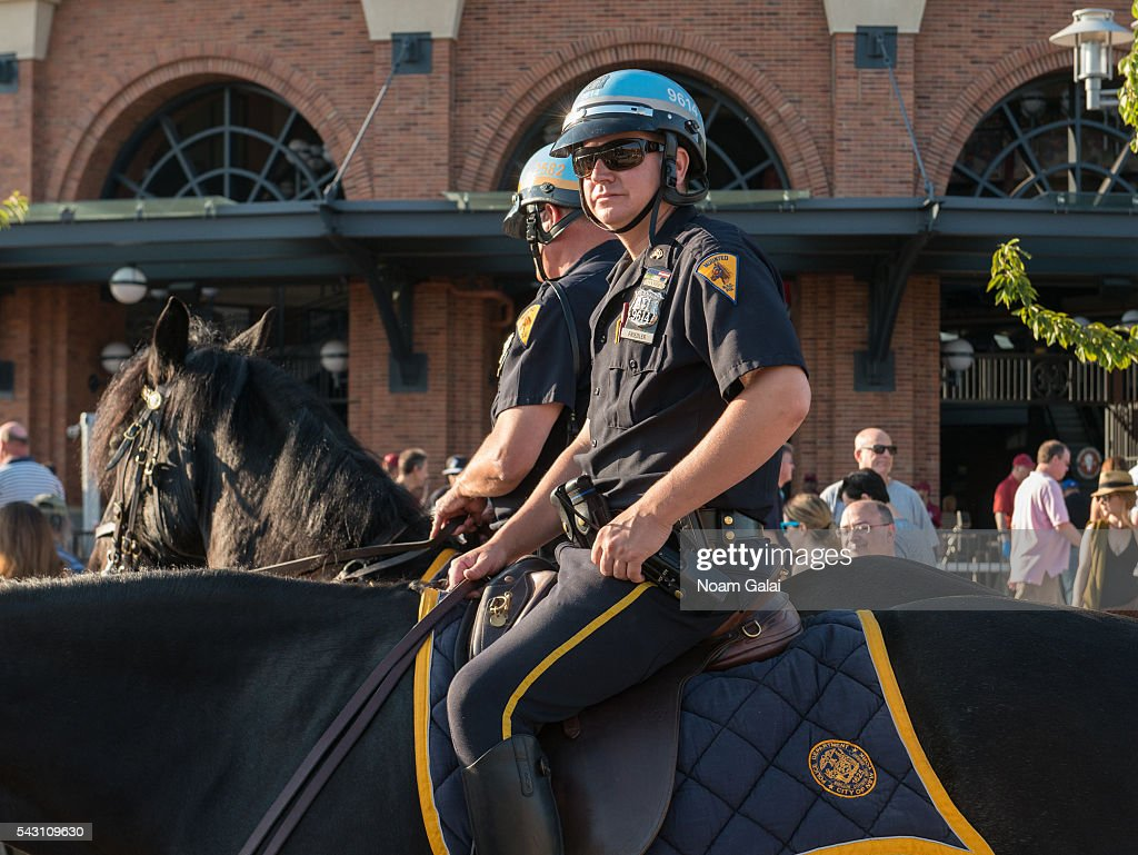 A view of police officers outside the Dead & Company concert at Citi Field on June 25, 2016 in the Queens borough of New York City.