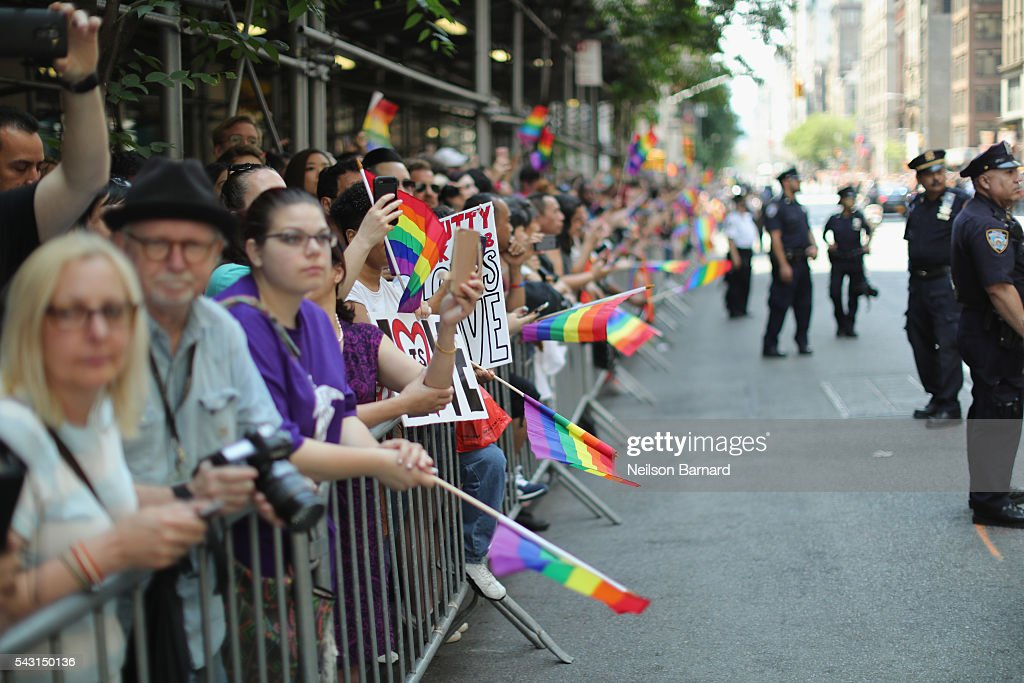 A view of police security during the New York City Pride 2016 march at 5th avenue on June 26, 2016 in New York City.