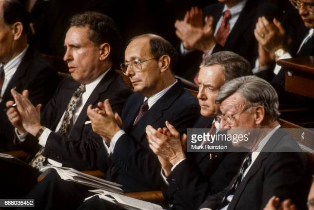 View of politicians as they applaud during President George HW Bush's State of the Union address before a joint session of Congress Washington DC...