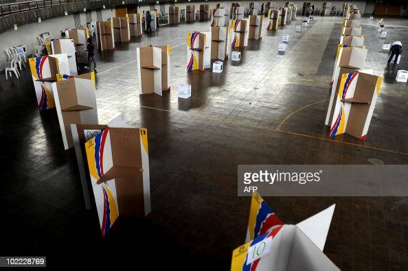 View of polling booths at a polling station in Cali Valle del Cauca departament Colombia on June 19 2010 Nearly 30 million voters head to the polls...