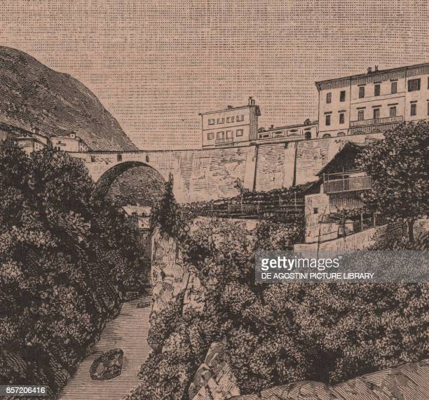 View of Pont Neuf from the ancient Roman bridge Chatillon Aosta Valley Italy woodcut from Le Cento citta d'Italia illustrated monthly supplement of...
