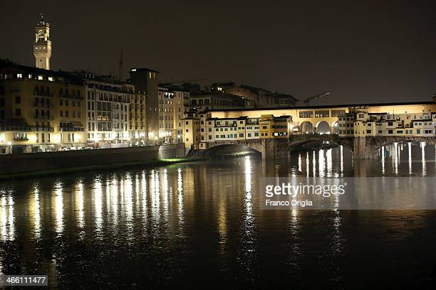 A view of Ponte Vecchio bridge during wet weather on January 29 2014 on Florence Italy