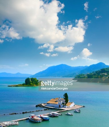 View Of Pontikonisi Area At Corfu Island Greece Stock ...