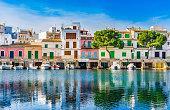 Beautiful harbor of Porto Colom at the coast of Mallorca island, Spain