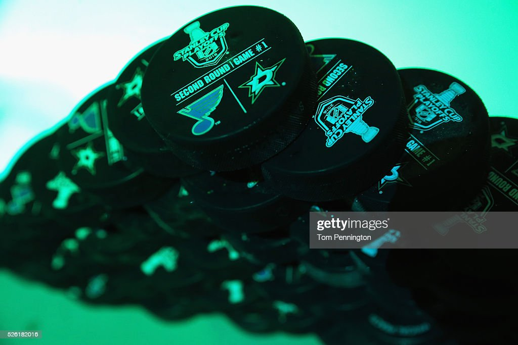 A view of practice pucks before the Dallas Stars take on the St. Louis Blues in Game One of the Western Conference Second Round during the 2016 NHL Stanley Cup Playoffs at American Airlines Center on April 29, 2016 in Dallas, Texas.