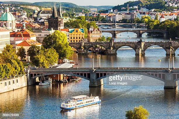 View of Prague and bridges over the Vltava river in the Czech Republic