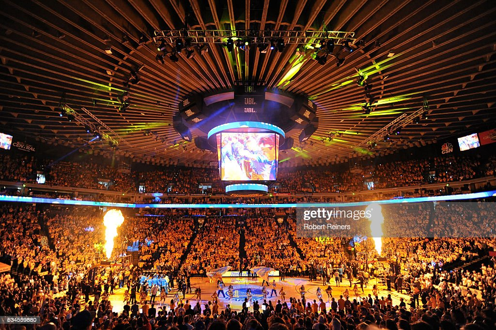 A view of pregame ceremonies prior to Game Five of the Western Conference Finals between the Golden State Warriors and the Oklahoma City Thunder during the 2016 NBA Playoffs at ORACLE Arena on May 26, 2016 in Oakland, California.