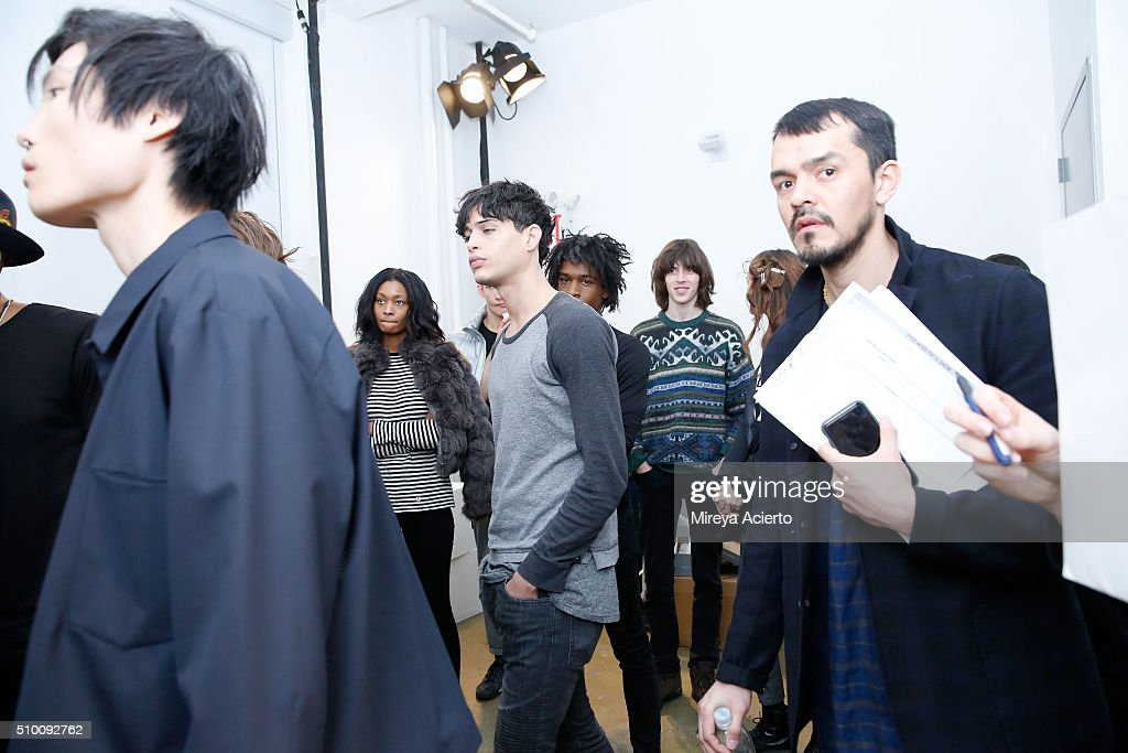 A view of pre-show preparations at the Pyer Moss Fall 2016 fashion show during MADE Fashion Week at Milk Studios on February 13, 2016 in New York City.