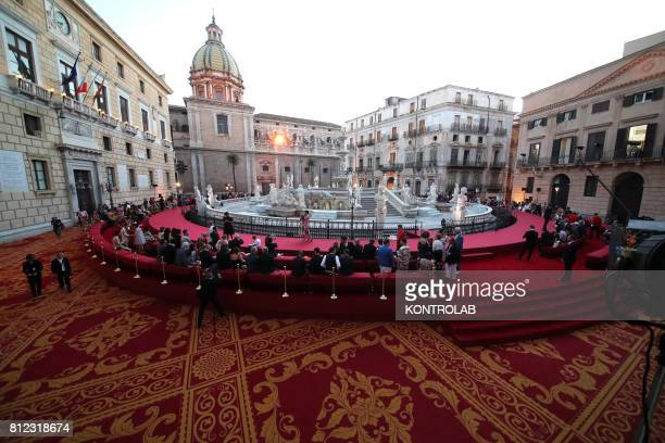 SQUARE PALERMO SICILY ITALY A view of Pretoria square before the parade of Dolce and Gabbana in Pretoria Square in Palermo Sicily southern Italy