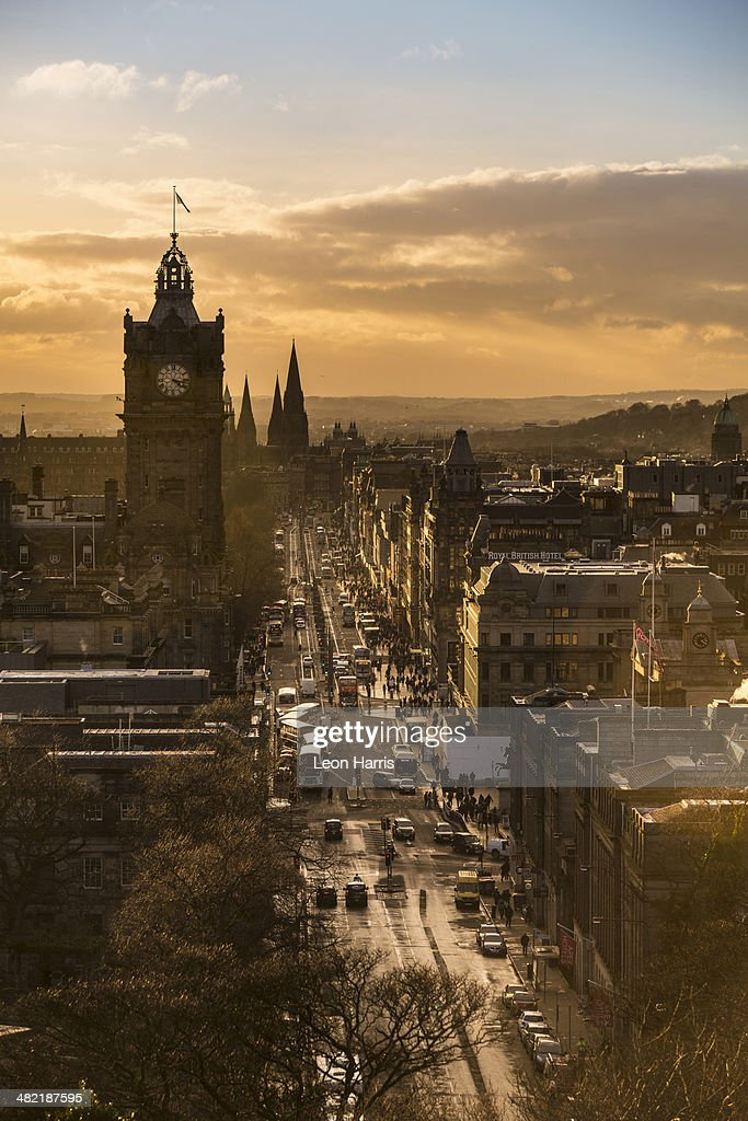 View of Princes Street in Edinburgh from Calton Hill