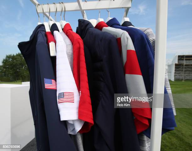A view of product at LACOSTE 'Official Apparel Provider' unveiling during 2017 Presidents Cup Media Day at Liberty National Golf Club on August 21...