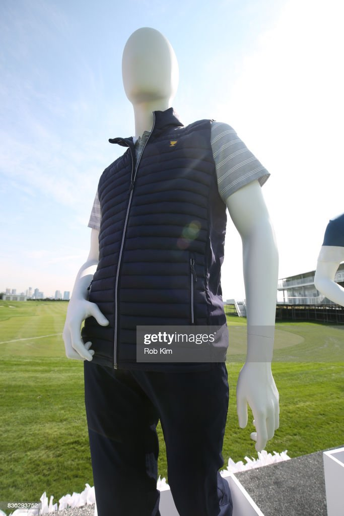 A view of product at LACOSTE 'Official Apparel Provider' unveiling during 2017 Presidents Cup Media Day at Liberty National Golf Club on August 21, 2017 in Jersey City, NJ.