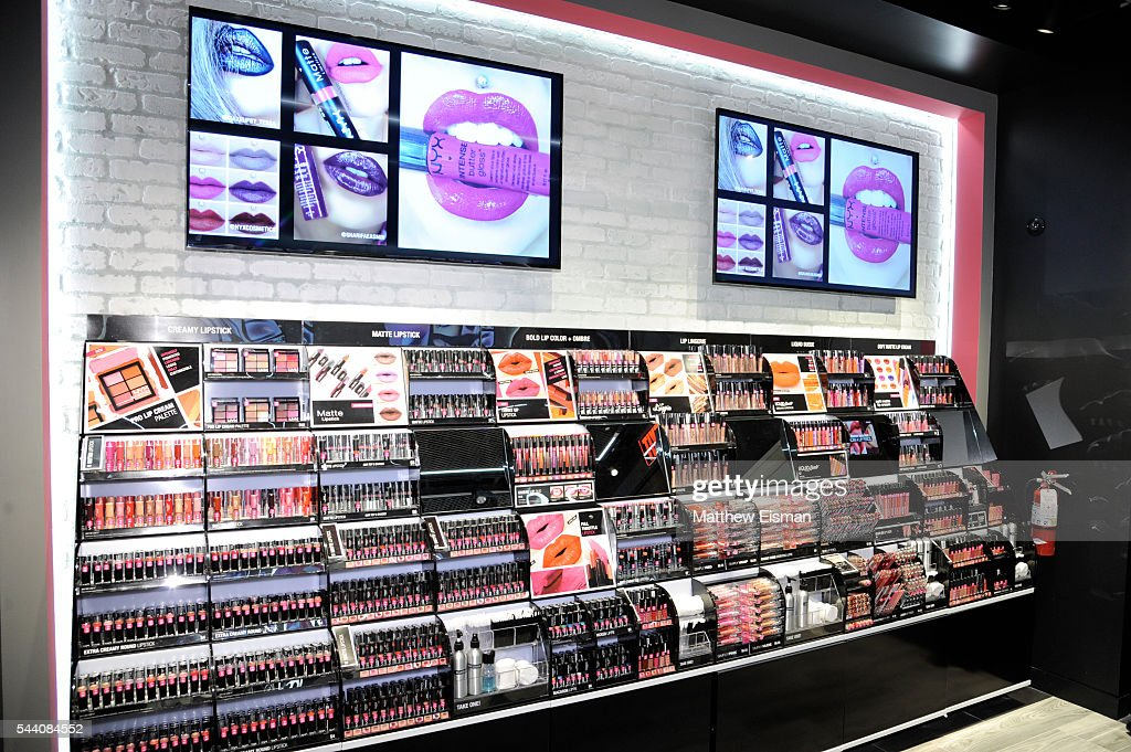A view of product displays at the NYX Professional Makeup Store at Queens Center on July 1, 2016 in Elmhurst, New York.