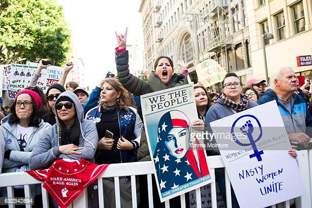 A view of protestors at the women's march in Los Angeles on January 21 2017 in Los Angeles California