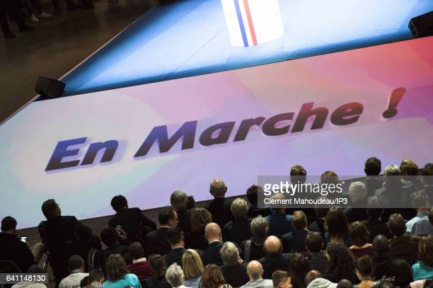 A view of public who is came attending a meeting of former French Economy Minister Founder and Leader of the political movement 'En Marche ' and...