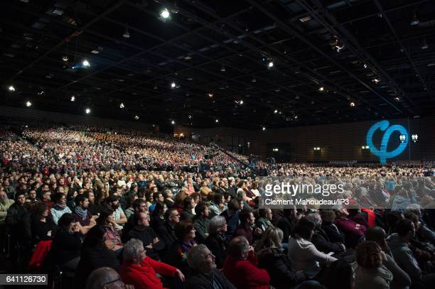 A view of public who is came attending a meeting of the founder of the left wing movement 'La France Insoumise' and candidate for the 2017 French...