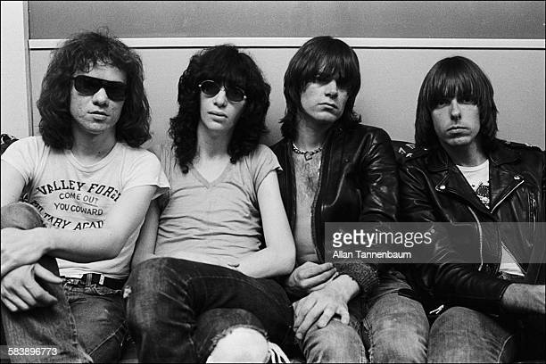View of punk rock group the Ramones backstage at the Bottom Line New York New York May 1976 Joey Ramone is at second left