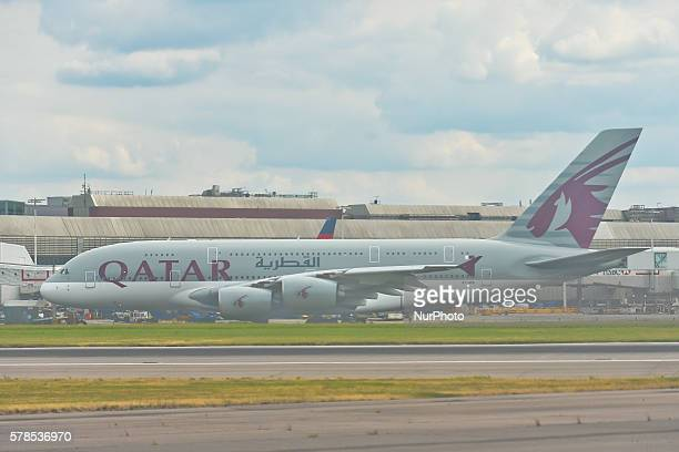 A view of Qatar Airways plane the stateowned flag carrier of Qatar at London Heathrow Airport On Thursday 21 July 2016 in Heatrow United Kingdom
