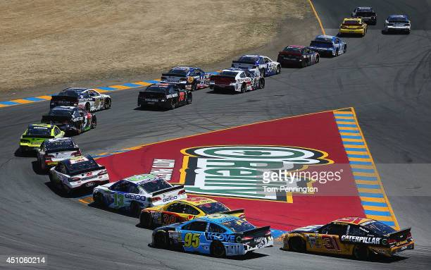A view of race action during the NASCAR Sprint Cup Series Toyota/Save Mart 350 at Sonoma Raceway on June 22 2014 in Sonoma California