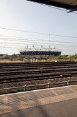View of railway tracks through platform