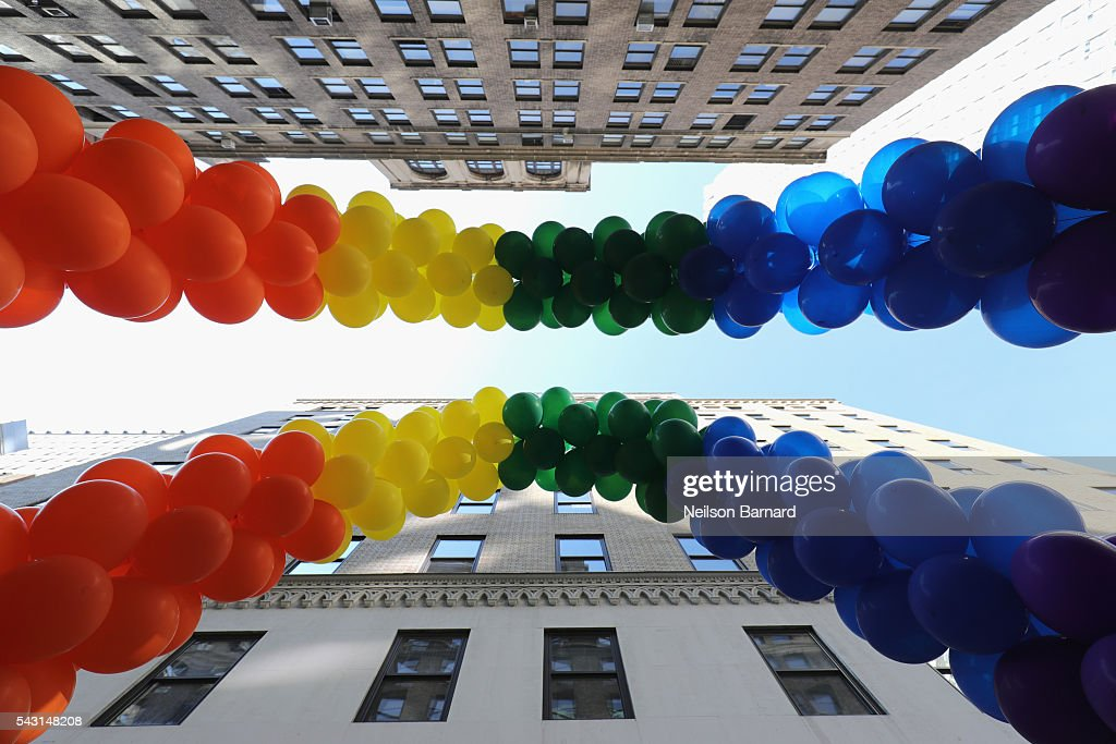 A view of rainbow balloons during the New York City Pride 2016 march at 5th Avenue on June 26, 2016 in New York City.