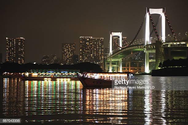 View of Rainbow Bridge, Tokyo, Japan