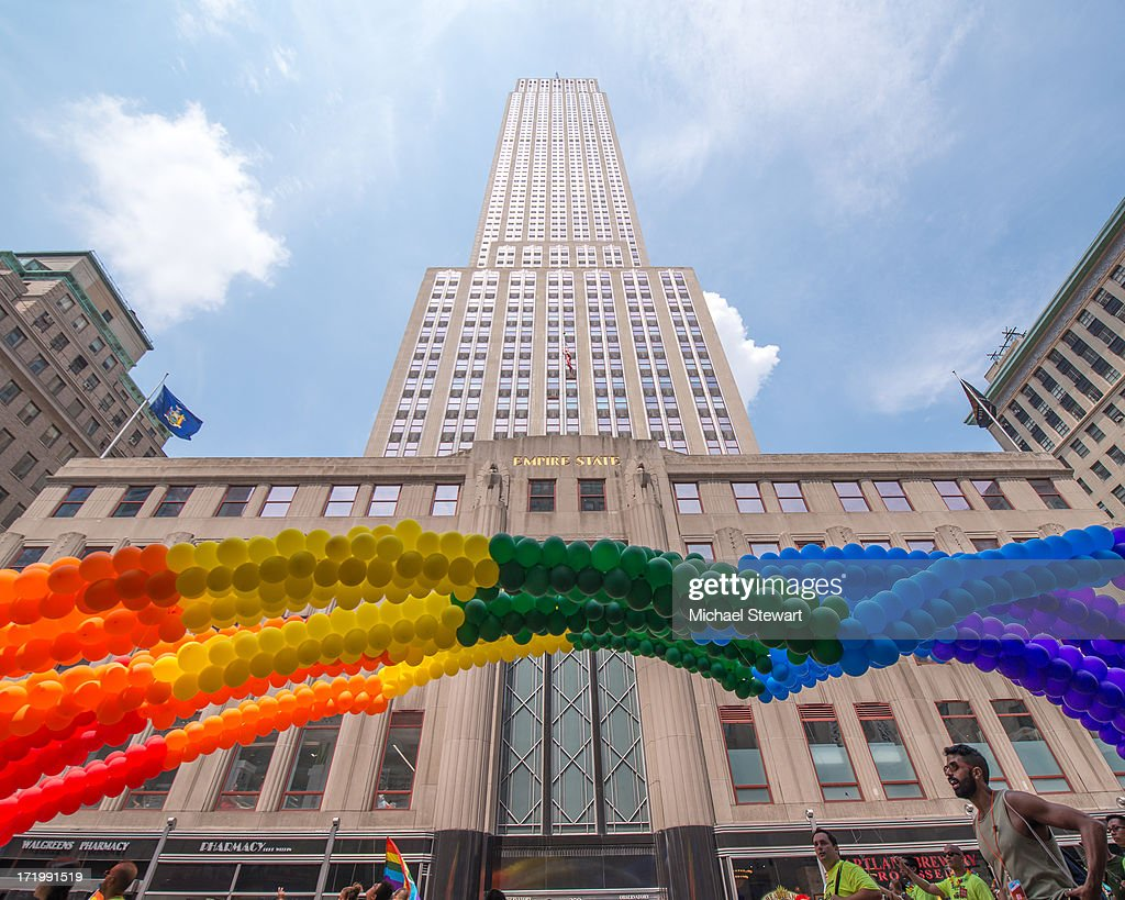 A view of rainbow colored balloons in front of the Empire State Building at The March during NYC Pride 2013 on June 30, 2013 in New York City.