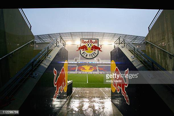A view of Red Bull Arena in a heavy rain prior to the start of the game between the San Jose Earthquakes and the New York Red Bulls at Red Bull Arena...