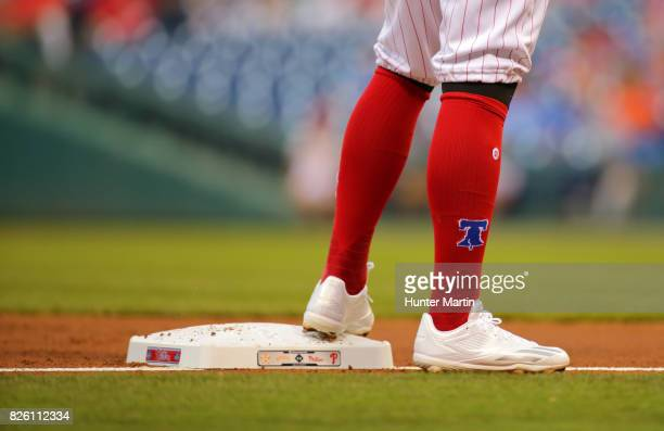 A view of red knee high baseball socks as seen on Freddy Galvis of the Philadelphia Phillies during a game against the Houston Astros at Citizens...